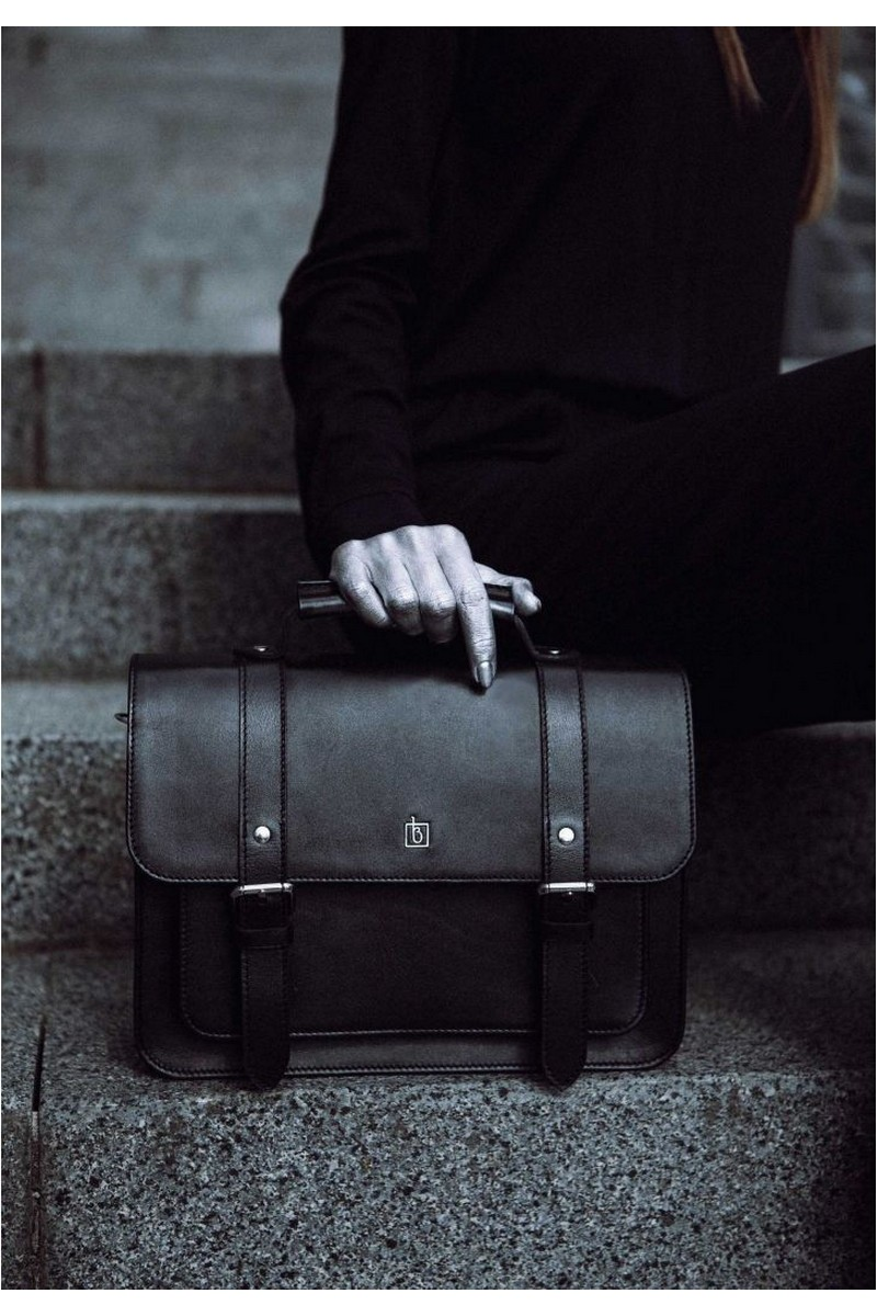 Buy Real leather handmade black satchel briefcase stylish medium design bag