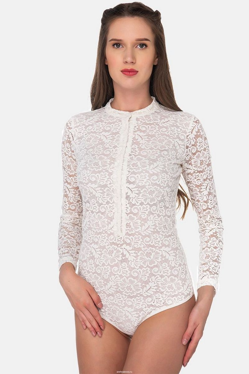 Buy Guipure fitted long sleeve bodysuit, white buttons business comfortable blouse bodysuit