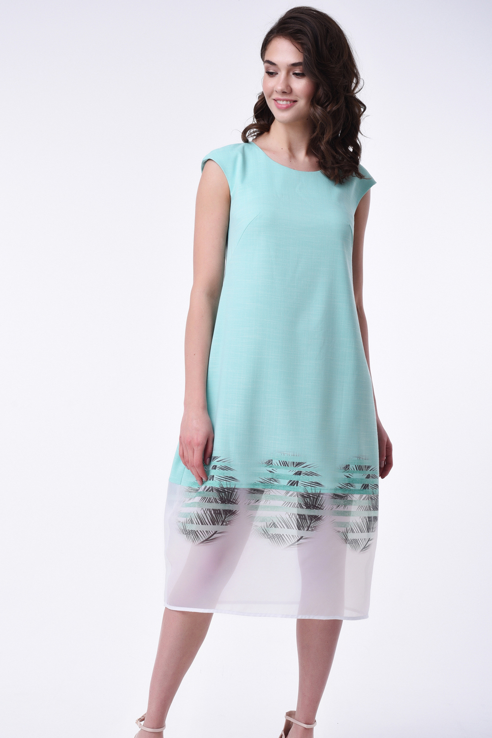 Buy Light linen summer sleeveless midi mint dress, Comfortable women`s dress