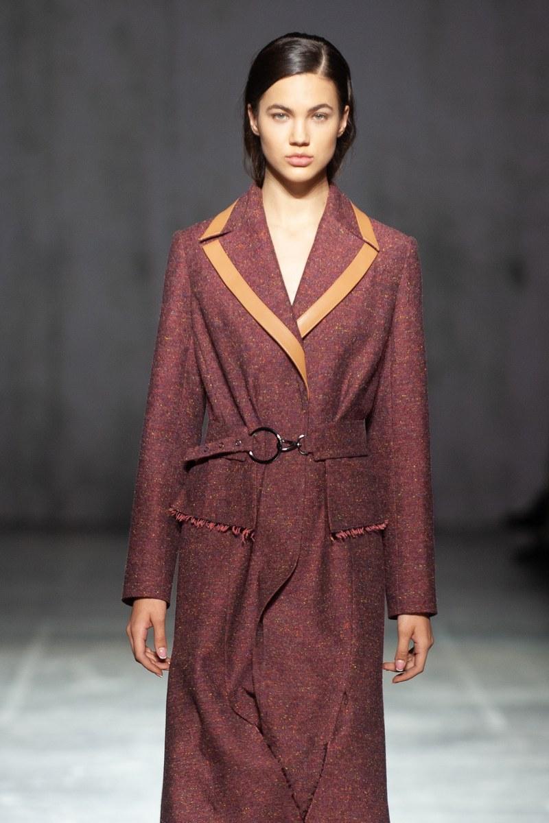 Buy Womens Midi Length Burgundy Wool Notch Collar Belt Pockets Jacket Coat