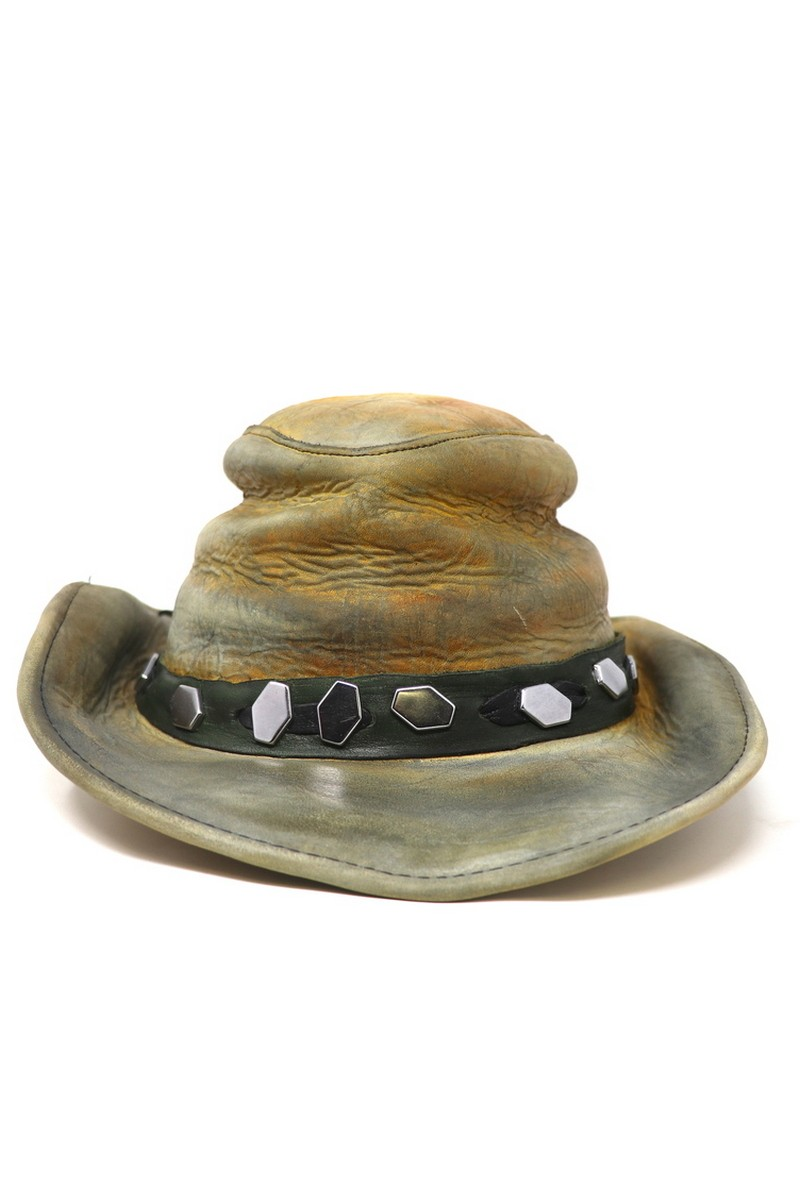 Buy WildWest Brown Leather Hat, Handmade Vintage style Scuffed Unique Exclusive Design Hat