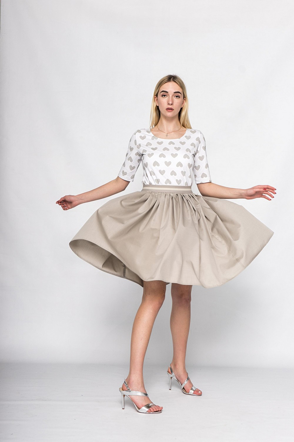Buy Classic women grey cotton skirt, Casual retro ladies skirt, Fluffy skirt for summer