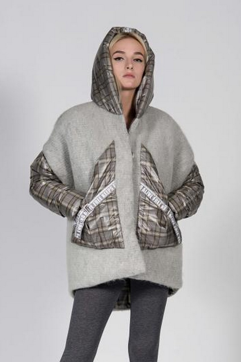 Buy Grey jacket vest double-sided woolen, combinedvest warm winter hooded loose coat
