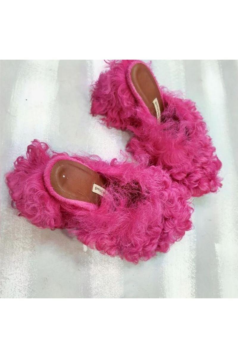 Buy Women pink faux fur open heel mules, fashion designer handmade exclusive shoes