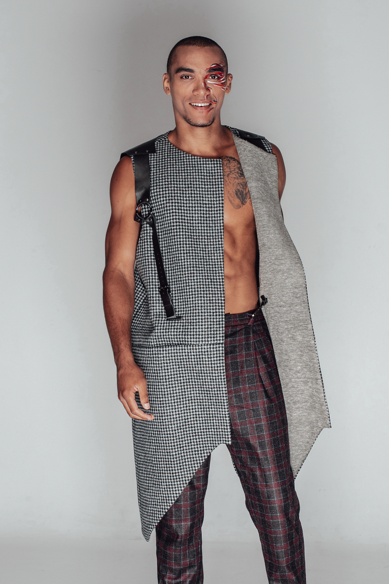 Buy Mens Long Wool Plaid Grey Vest Formal Sleeveless Jacket, Fashion Modern Asymmetry Leather Vest for Men