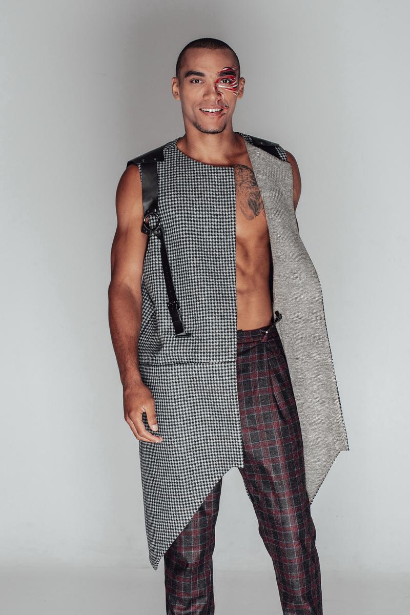 Buy Mens Long Wool Plaid Grey Vest Formal Sleeveless Jacket, Fashion Modern Asymmetry Leather Vest for Men
