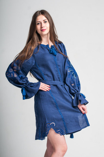 Buy Ethnic mini dress in Ukrainian folk style, vyshivanka