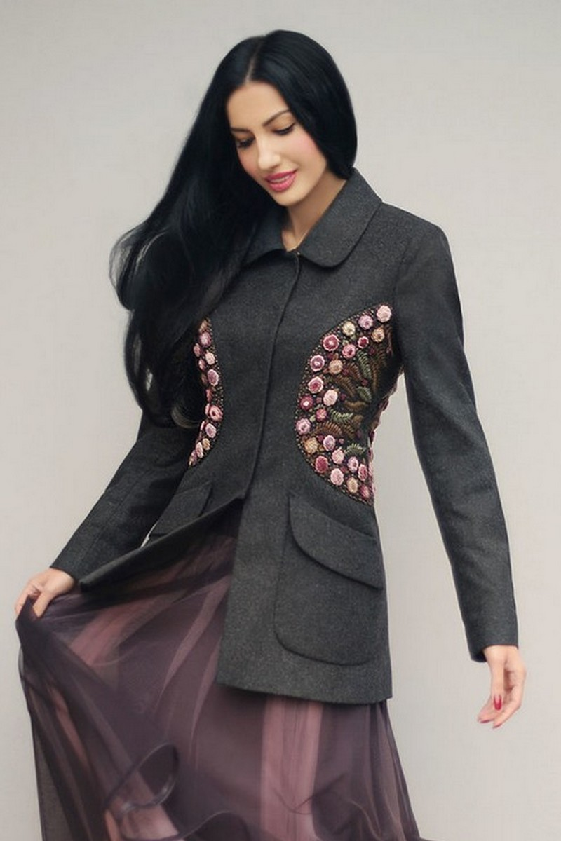 Buy Unique women`s original design hand embroidered costume, wool viscose silk costume