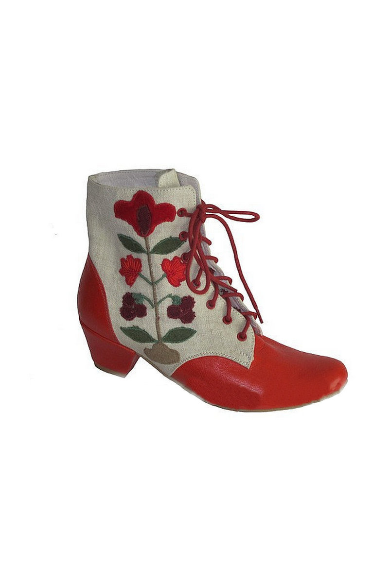 Buy Women's red ethno hemp heeled boots with application, Unique designer shoes