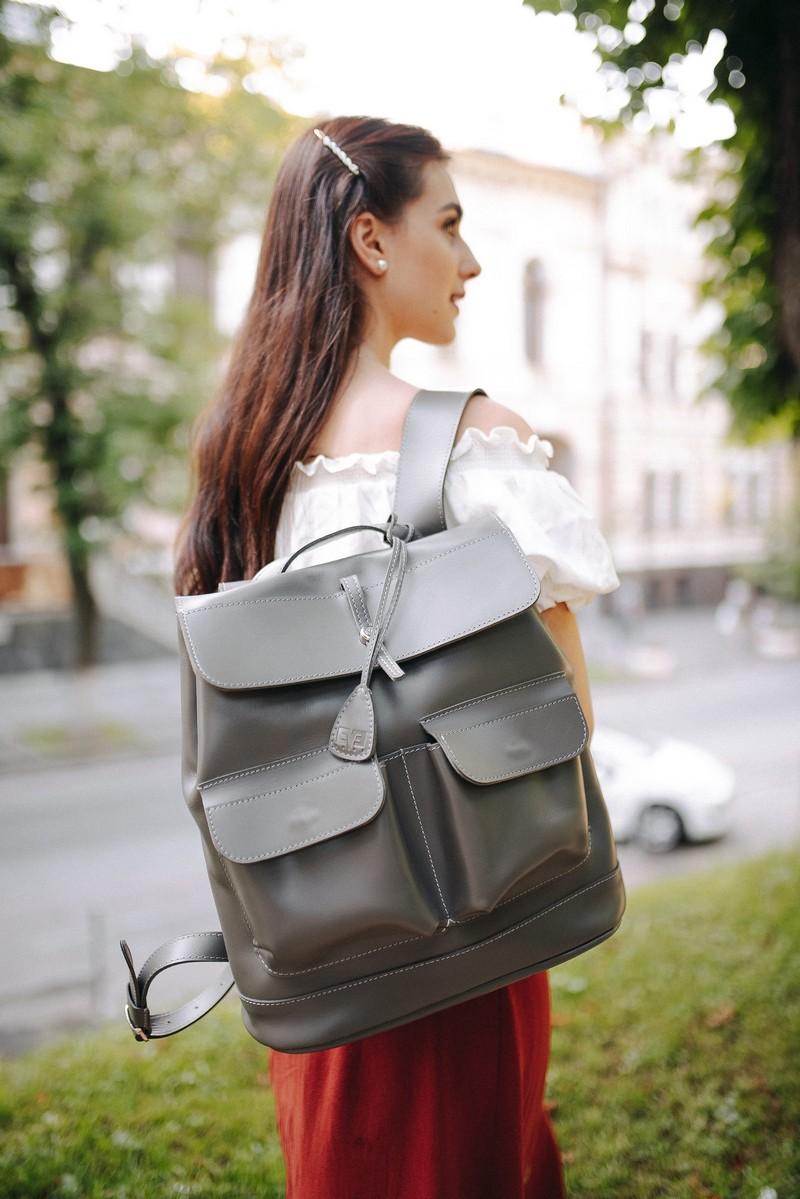 Comfortable roomy leather handmade backpack, designer travel daily backpack