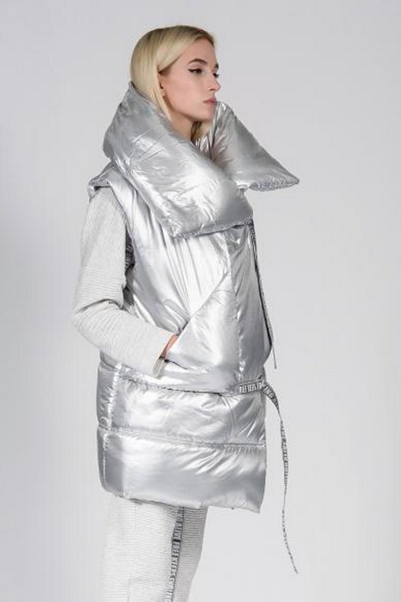 Buy Silver volume collar puffy vest, comfortable warm stylish women winter vest