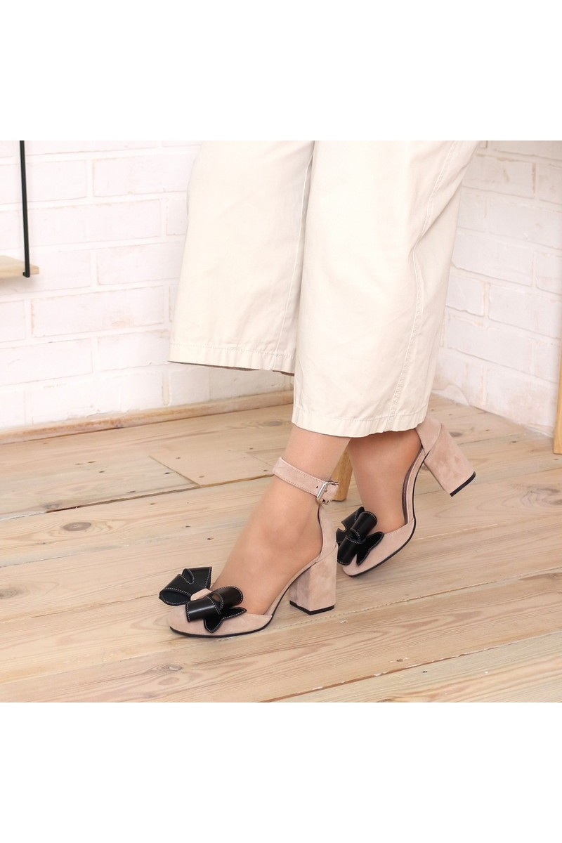 Buy Beige leather bow strap shoes, high heel round closed toe shoes, designer women party shoes