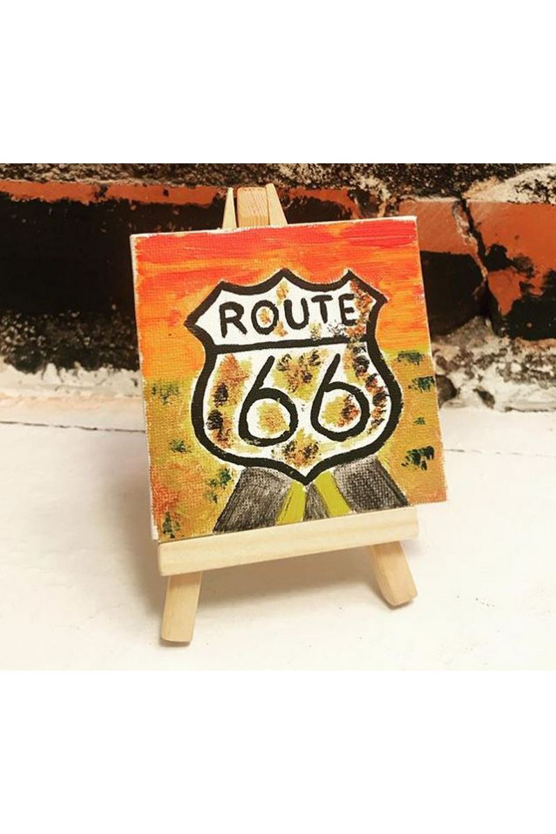 Buy Modern yellow acrylic art Route 66 painting, mini canvas art work easel