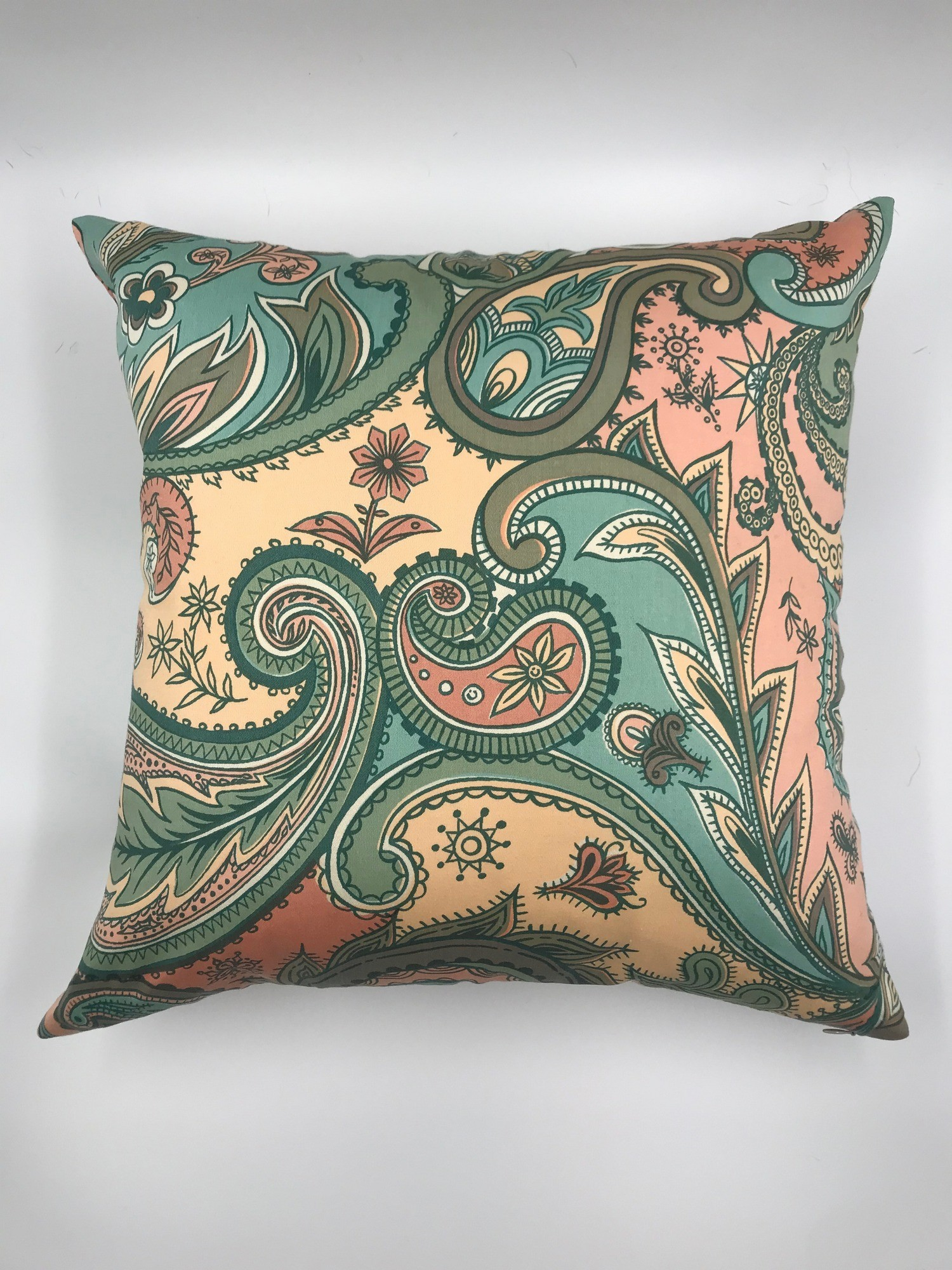 Buy Hand made decorative pillow, Handmade cushion vintage style, Real cotton pillow style 60s, Сraftsman's pillow