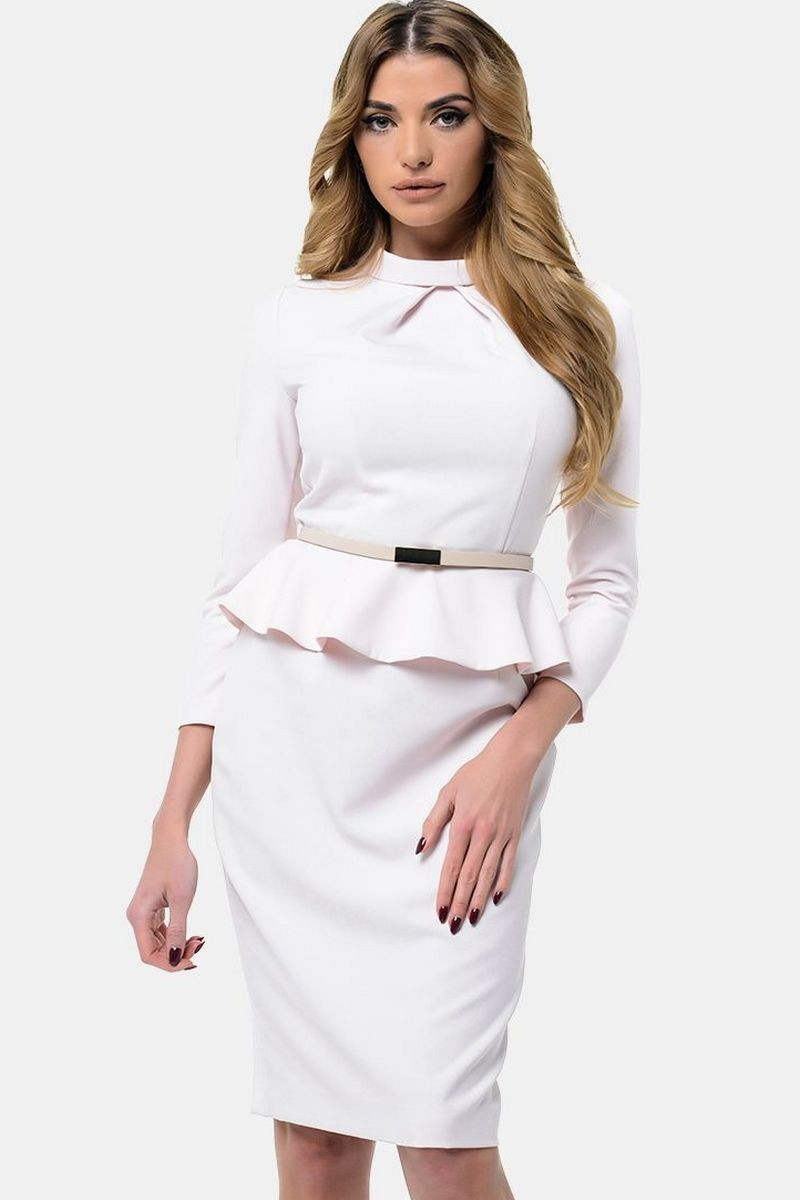 Buy Fitted beige knee-length office dress, peplum skirt shortened sleeve elegant party zipper dress