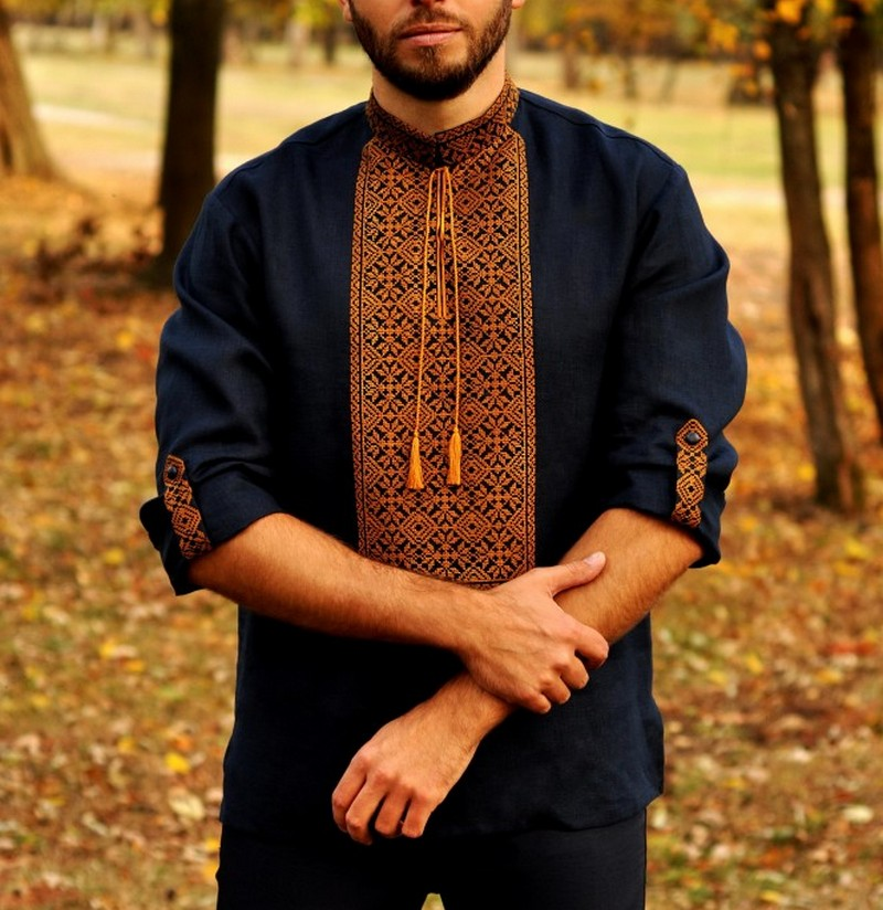 Buy Men's linen blue Boho Folk ethnic vyshivanka shirt, Unique Summer Ukrainian embroidery shirt with long sleeves