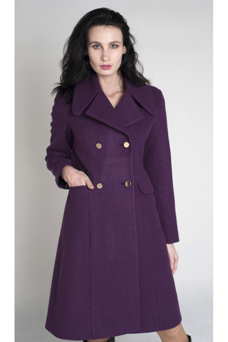 Buy Double-breasted long coat, Wool Coat, Women's Coat, Demi-season Coat, Long Coat, Ultraviolet Coat