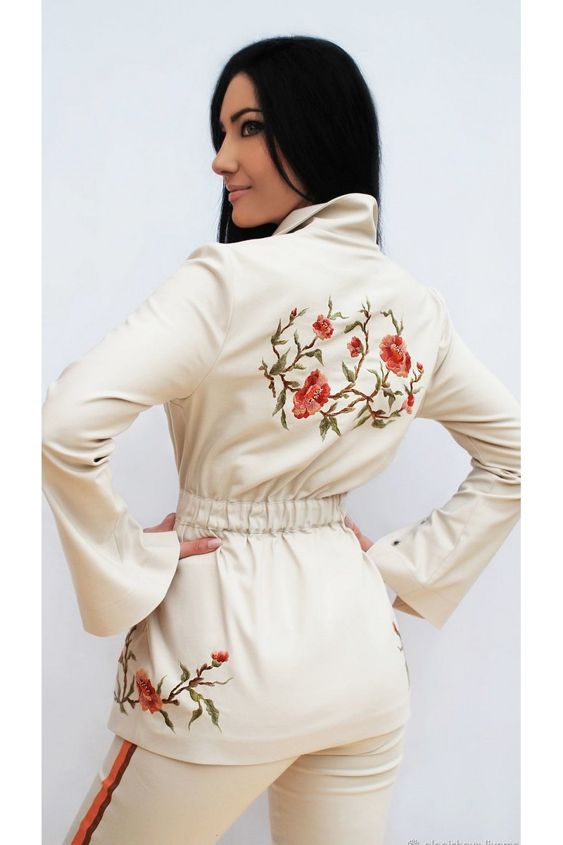 Buy Stylish trouser beige women elegant cotton comfy hand embroidery suit