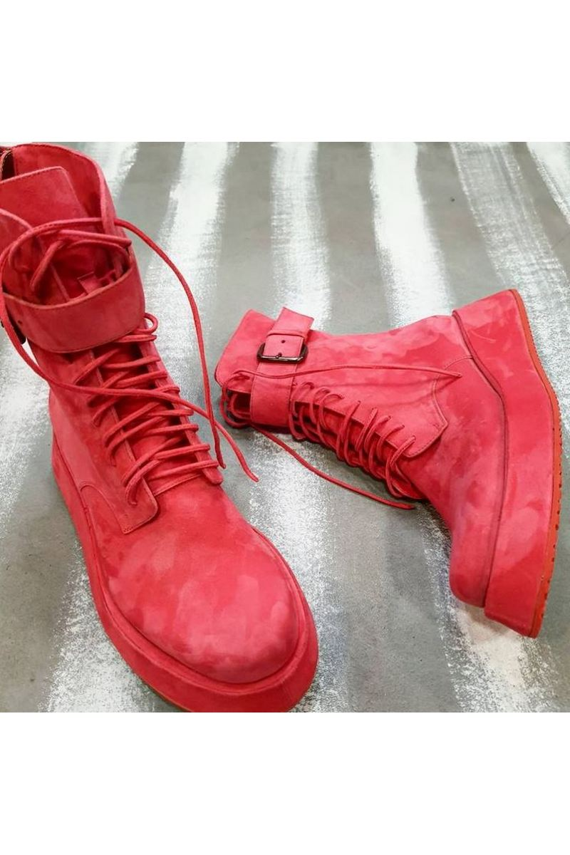 Buy Comfy Fashion Women Leather Red Laces Buckle Wide Sole Round Toe Military Combat Boots