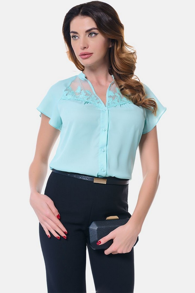 Buy Loose blue office blouse, V-neck Embroidery Buttons Short sleeveblouse