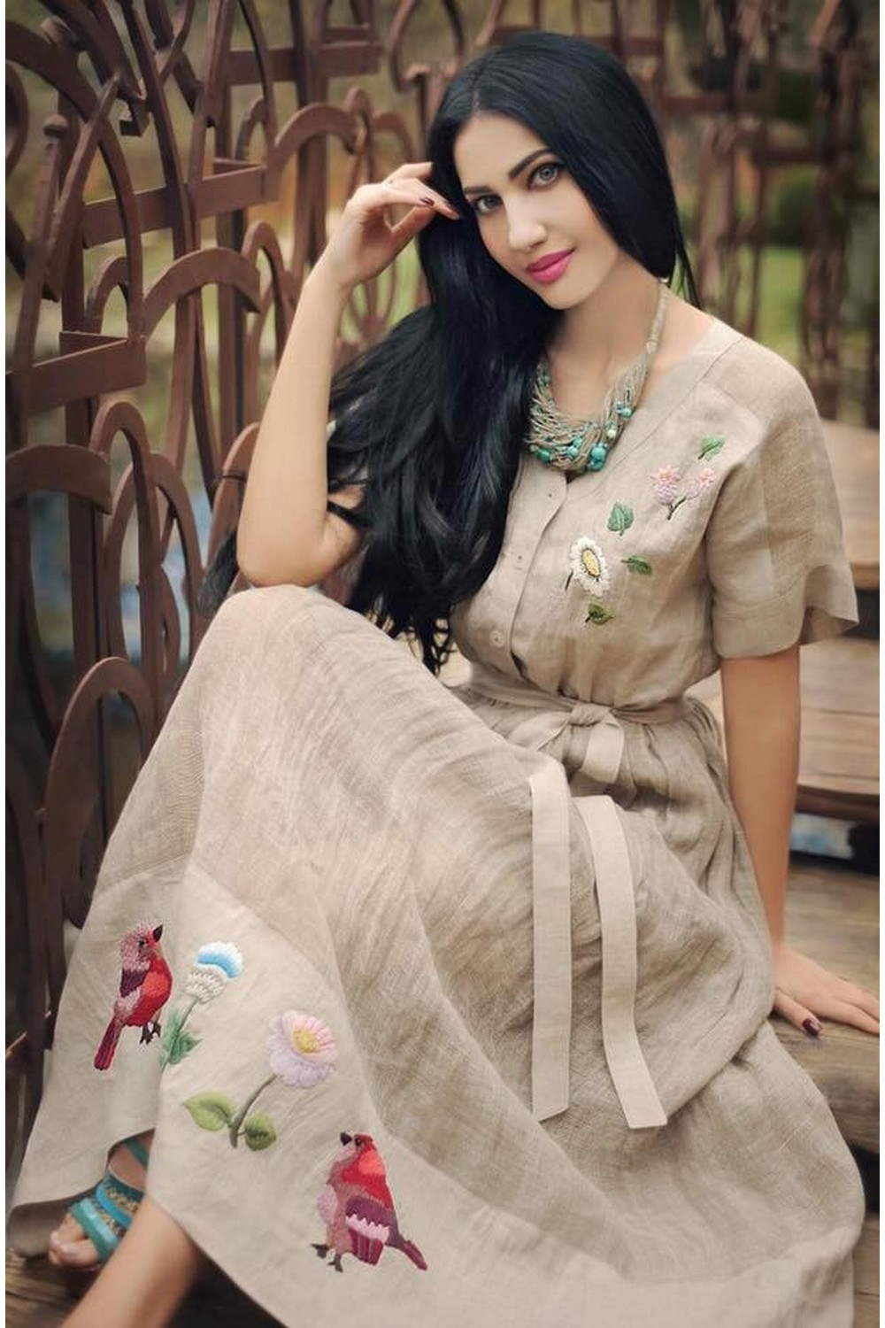Buy Ethno linen beige dress in ethnic style with embroidery, Summer original women`s dress