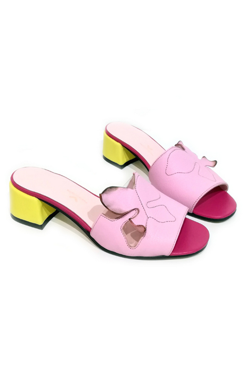 Buy Mule comfortable women pink butterflies square open toe heel, Designer shoes