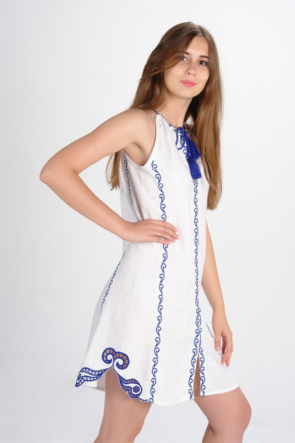 Buy Authentic linen dress in the style of boho, Ukrainian folk vyshivanka