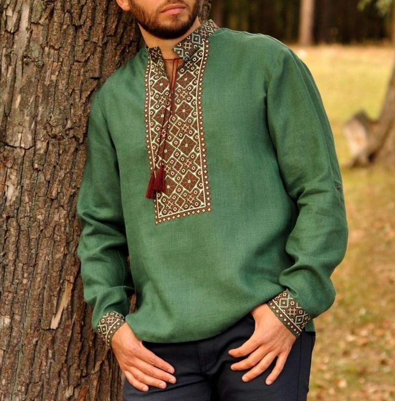 Buy Men's linen green Folk ethnic vyshivanka shirt, Gypsy Summer Boho Ukrainian embroidery long sleeves shirt