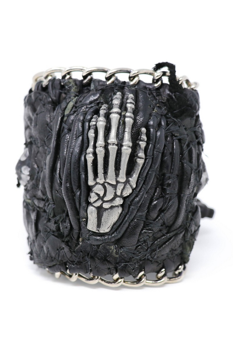 Buy Chained Centered Metal Hand Wristband, Leather Rock Punk bracelet, Stylish Rockstar accessories
