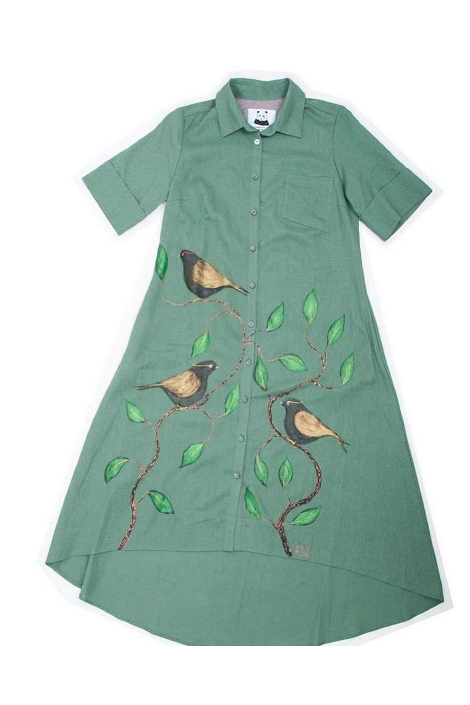 Buy Casual Women Green Cotton Print shirt dress , Unique stylish Short sleeve dress