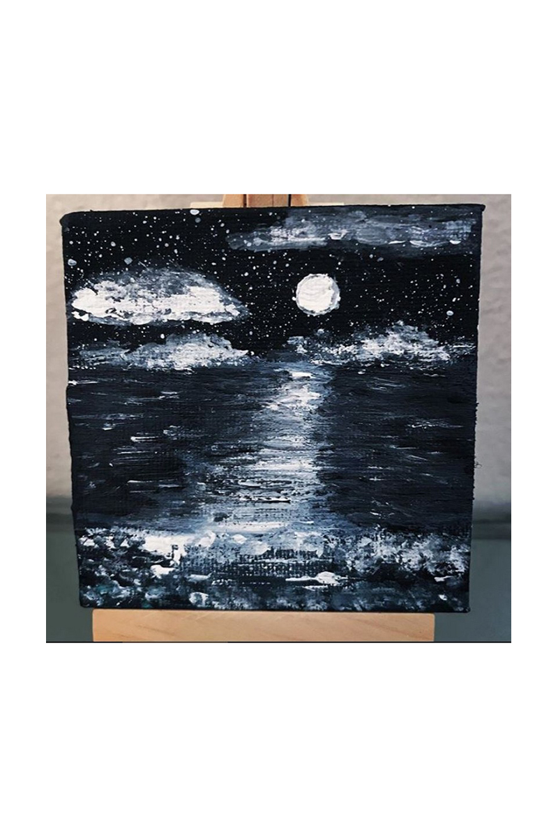 Buy Black and white Night painting mini canvas, art acrylic painting, modern abstract art