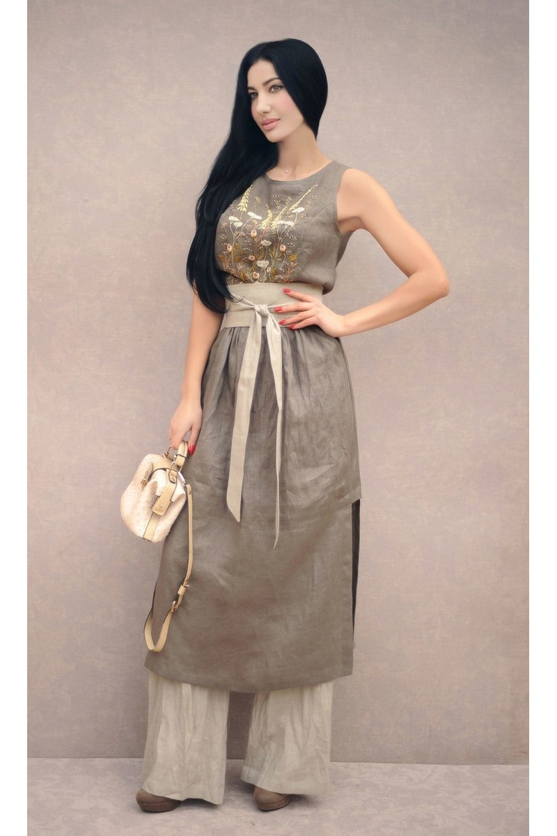 Buy Original gray stylish linen women embroidered designer suit