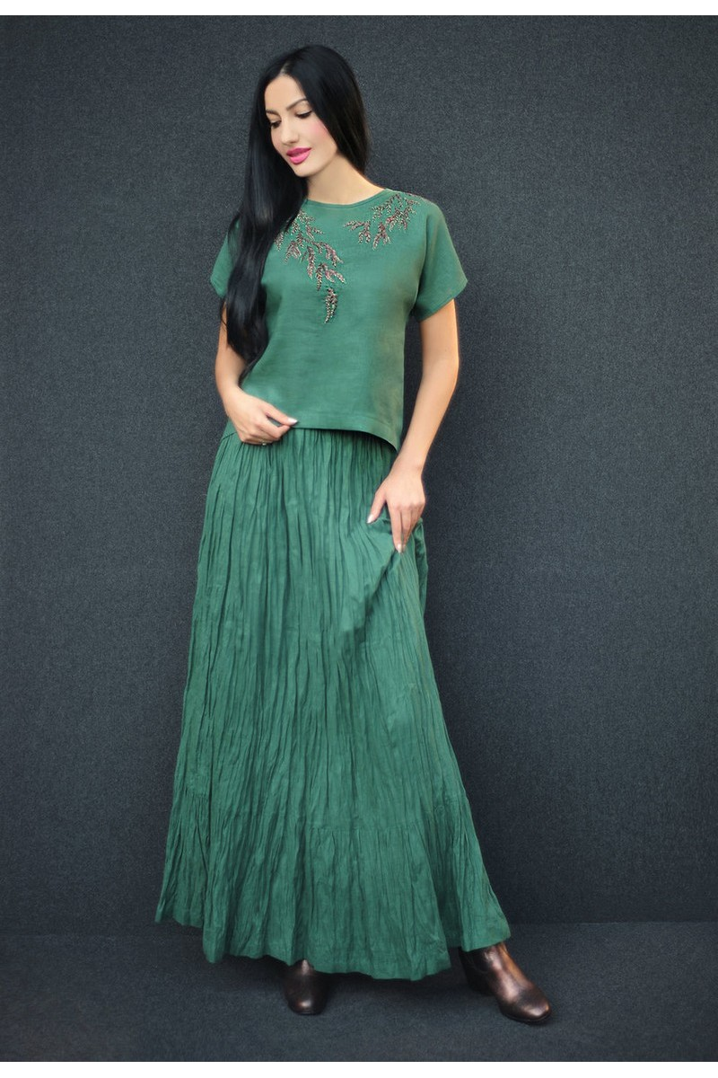 Buy Stylish elegant linen green patyu casual hand embroidered designer comfortable suit