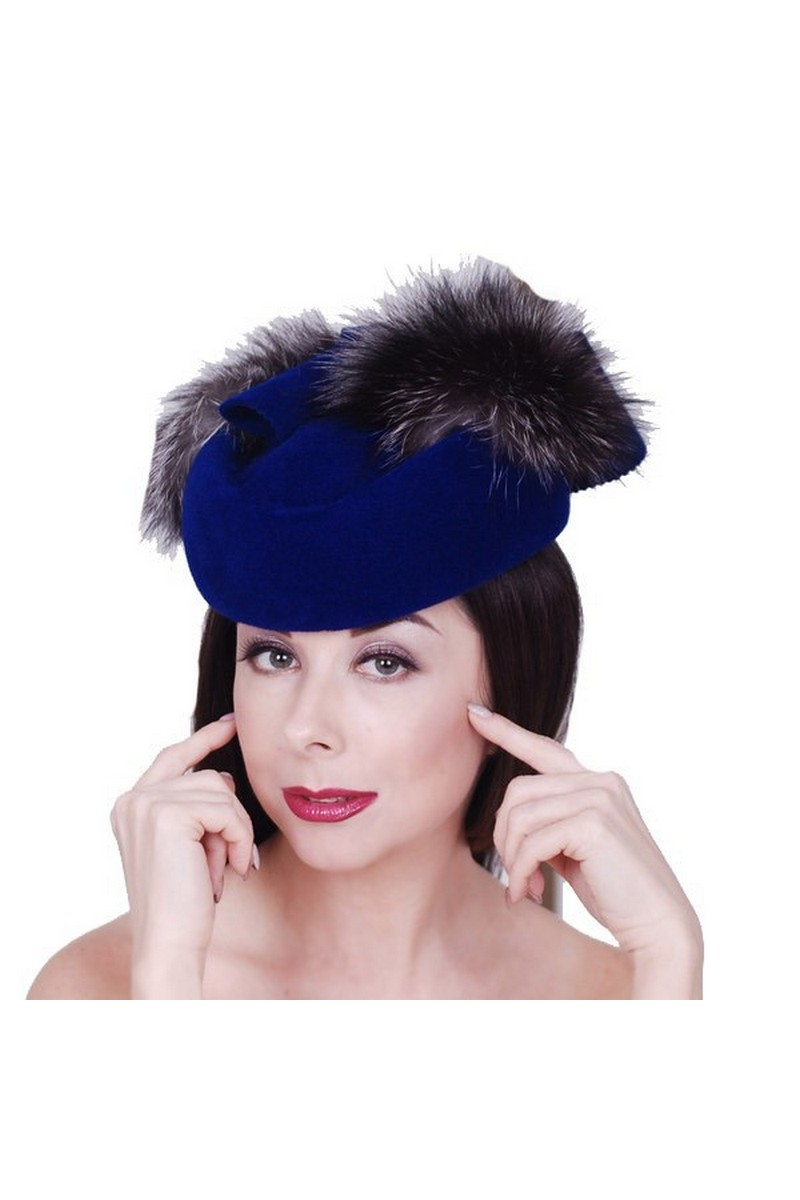 Buy Blue Felt Pillbox Hat, Silver fox Fur Retro Elegant Small Hat
