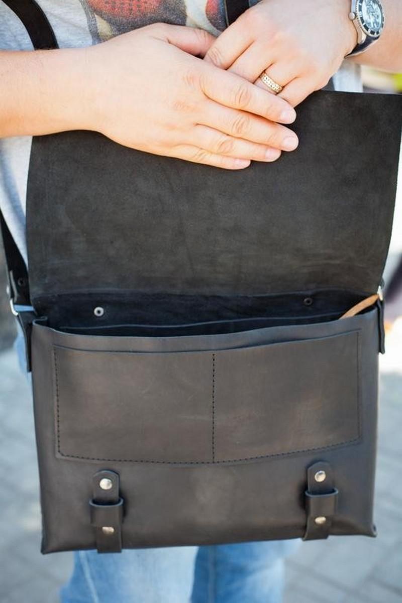 Black Men Women Leather Shoulder Crossbody Messenger Case Bag, Comfortable casual bag