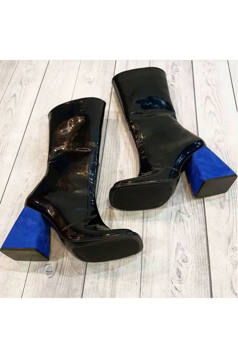 Buy Polished Leather Suede Black Blue Heel Zipper Square toe Women Fashion Go-Go Boots