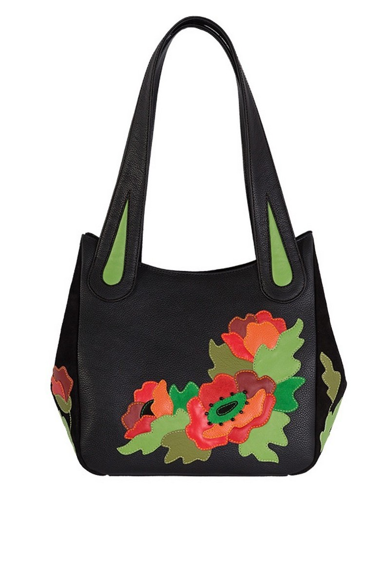 Buy Medium black leather handmade bag, Women's bright floral classic design handmade poppies