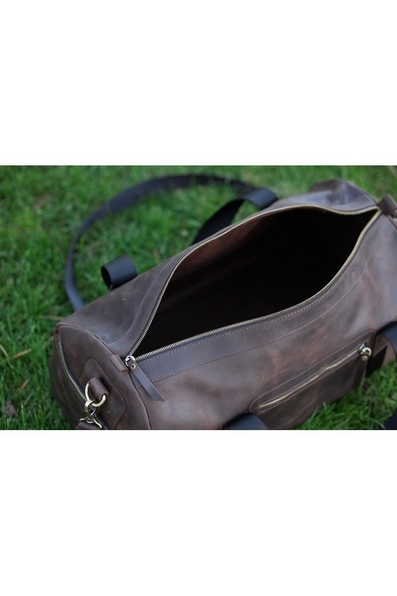 Rectangular Leather Sport Brown TravelWomen Men'sBag, Comfortable design bag