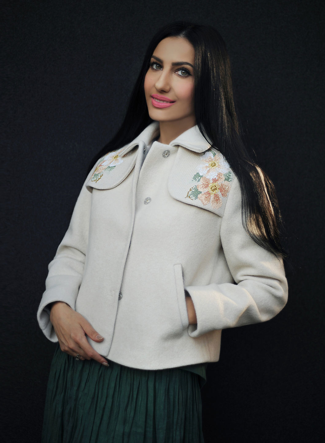 Buy White designer comfortable woolen handmade embroidered bomber jacket