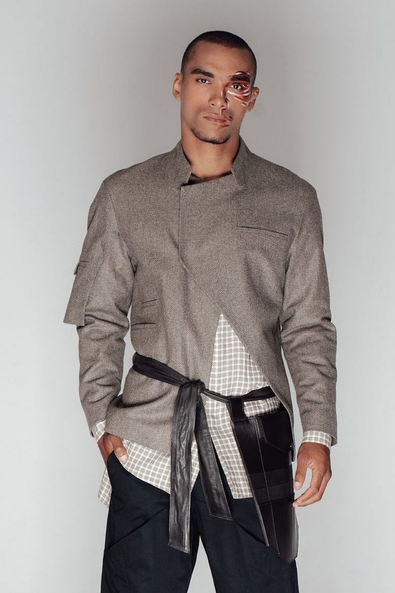 Buy Men`s Wool Light green Samurai jacket Double-breasted clasp jacket with pockets