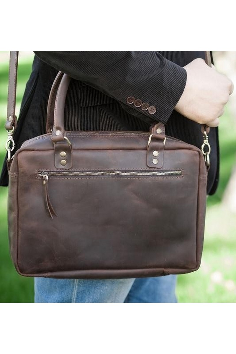 Leather rectangular laptop women man brown medium bag, Casual comfortable bag