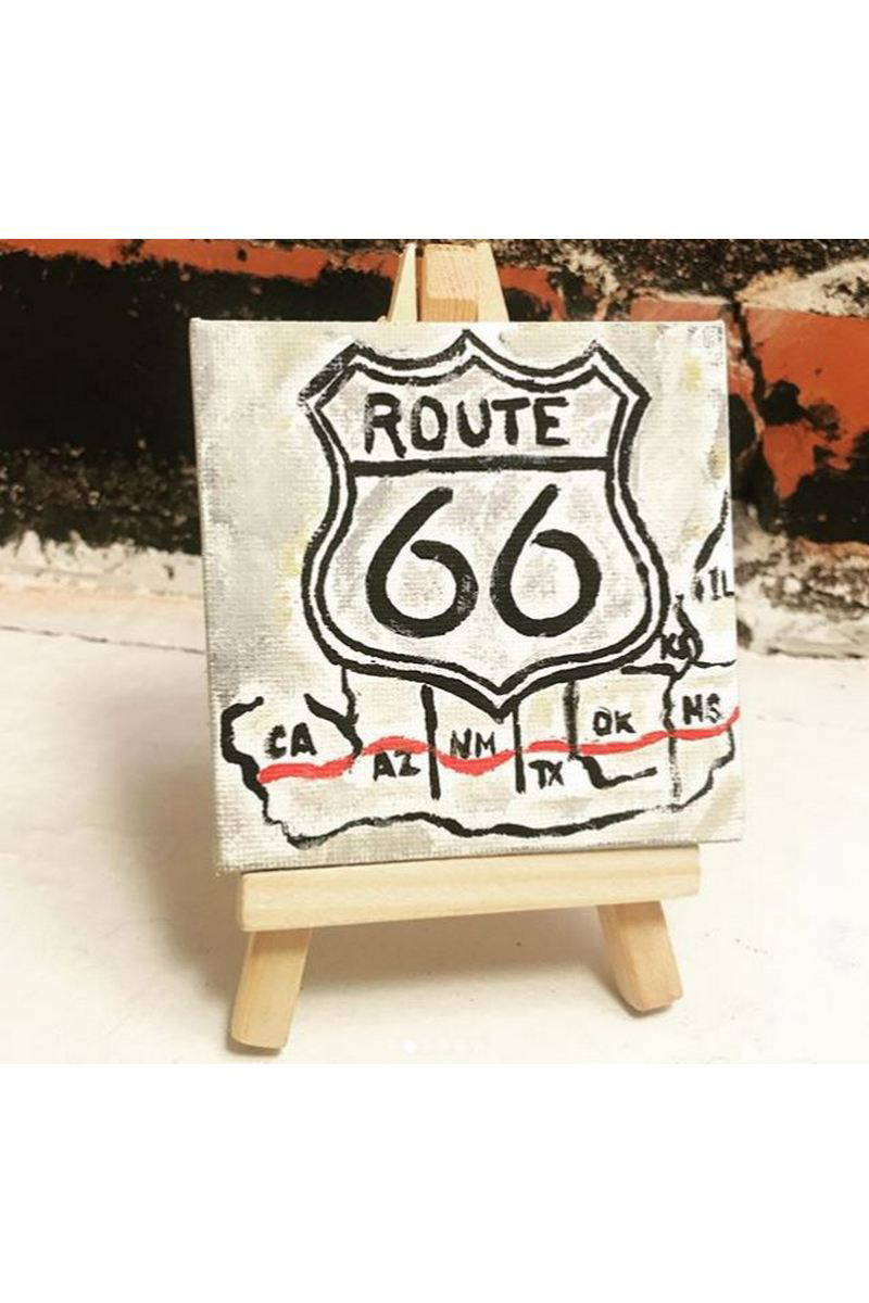 Buy White acrylic painting Route 66, modern art canvas american paintings