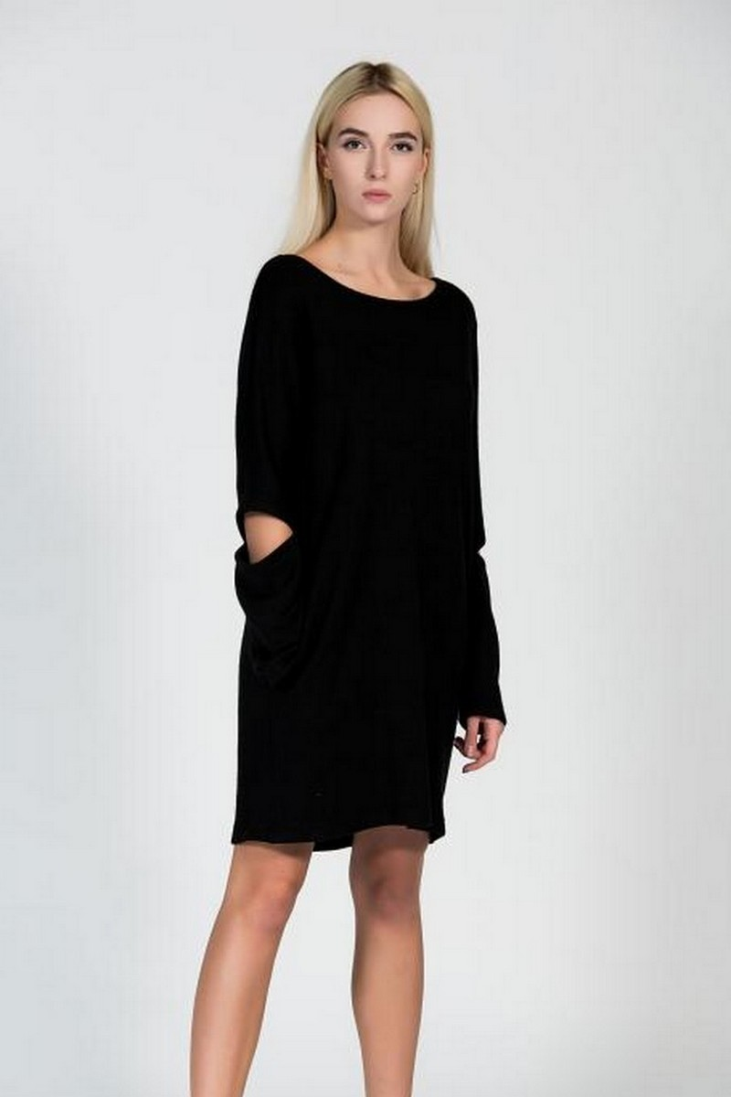 Buy Comfortable warm black angora dress, Stylish winter casual party dress