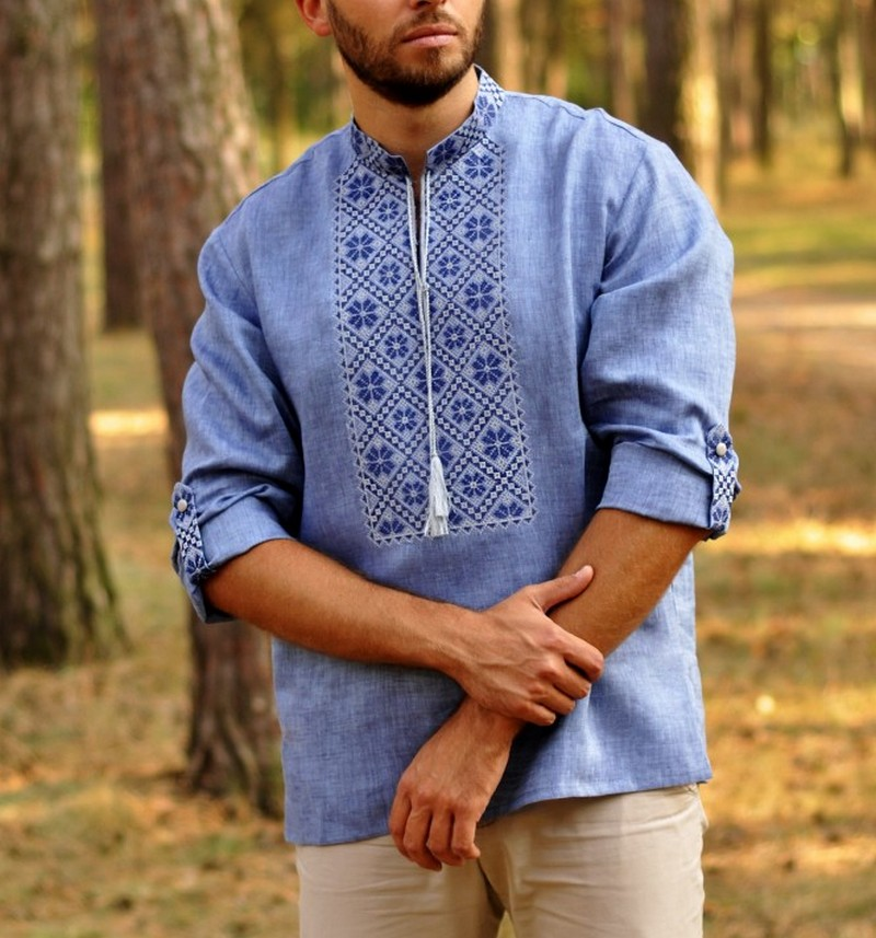 Buy Linen Men's blue Stylish Boho Folk ethnic vyshivanka shirt, Summer Ukrainian embroidery shirt with long sleeves