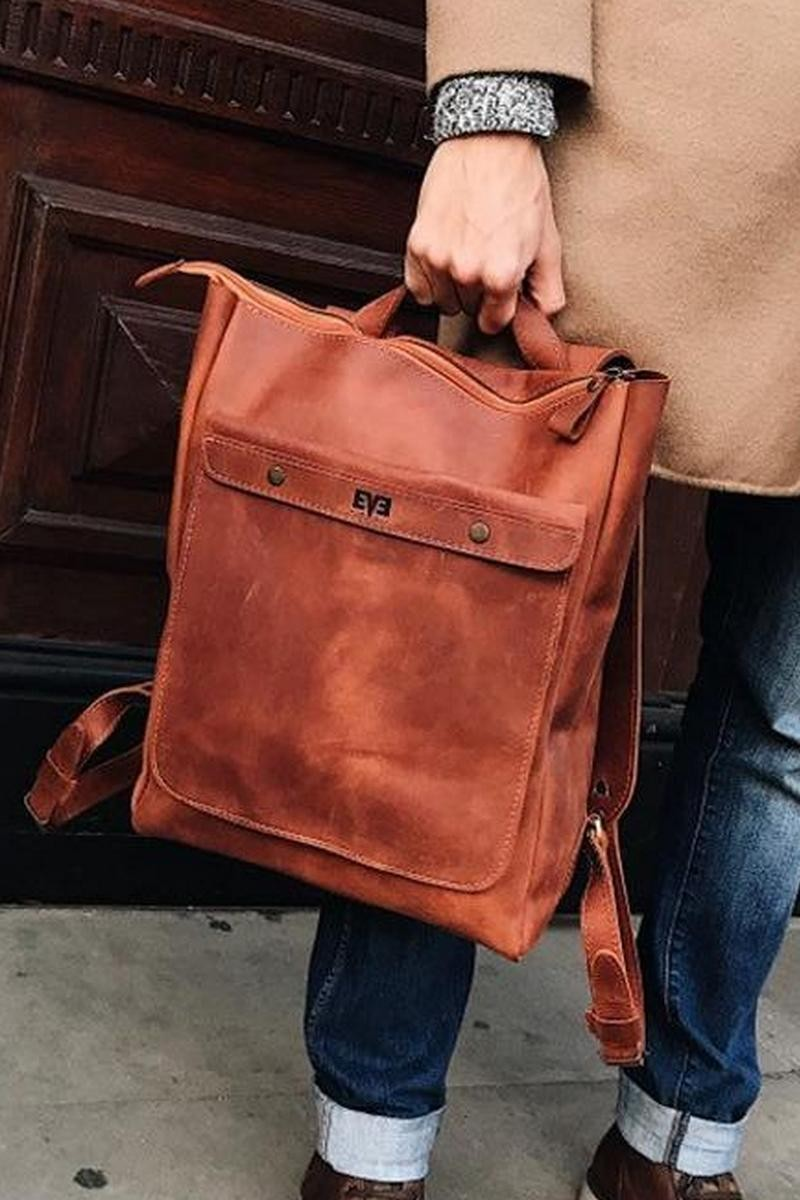 Buy Casual stylish leather handmade backpack, city designer limited number backpack