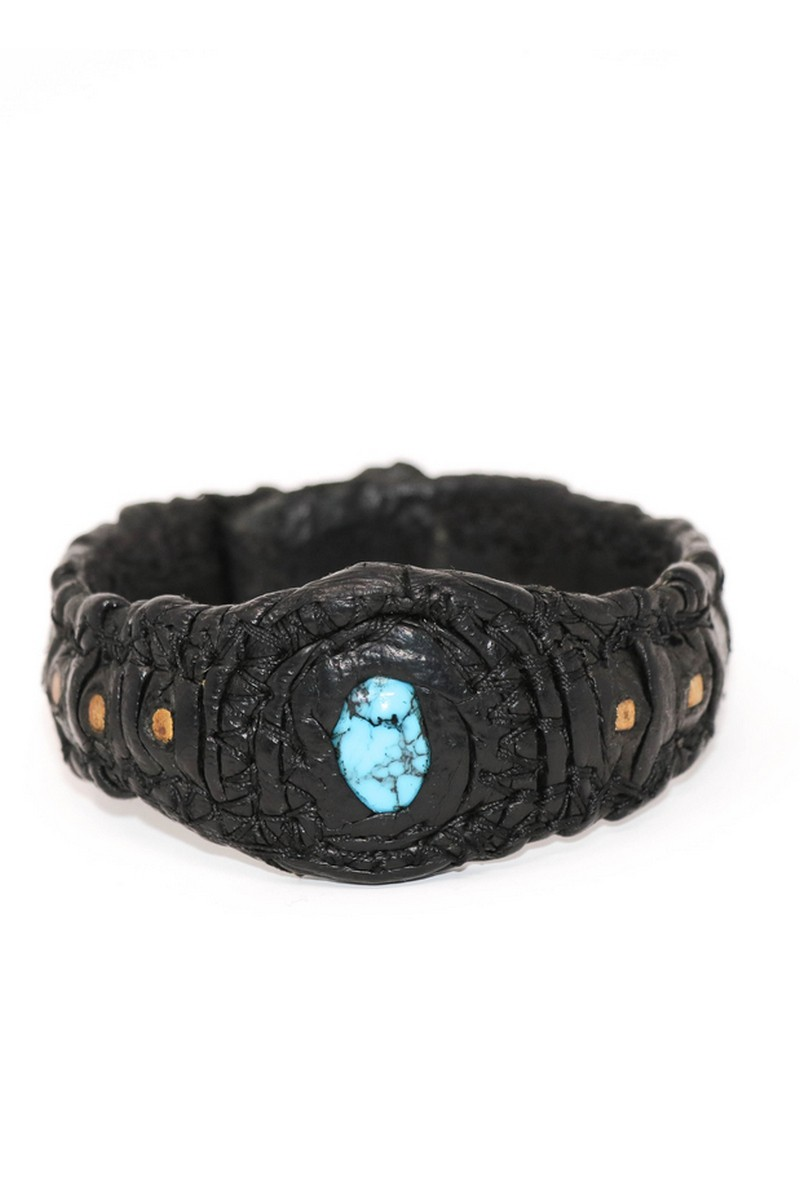 Buy Aquamarine Stone / Gold Metal Inlaid Leather Cuff, Leather bracelet, Stylish accessories
