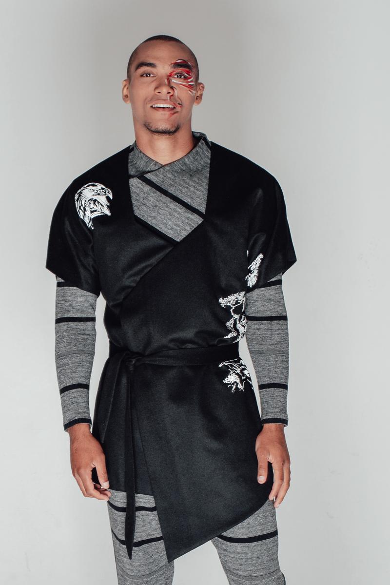Buy Wool Black Double-sided Clasp Loose Mens Kimono, Chinese style wool cardigan jacket loose kimono jacket printed self-tie