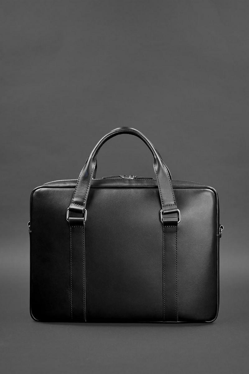 Rectangular comfort black real leather women`s men`s documents case, Laptop Computer and Tablet Shoulder Bag Carrying Case