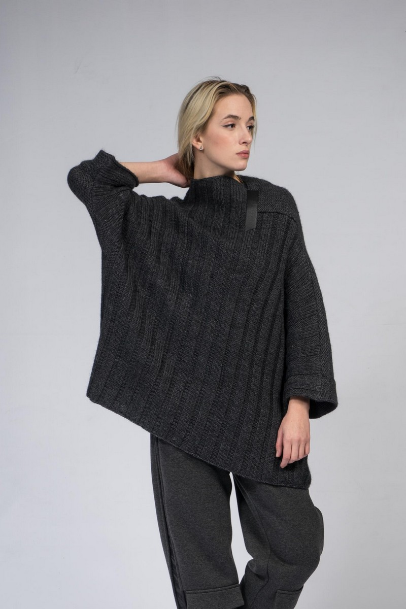 Buy Oversized loose grey wool sweater, comfortable warm winter stylish women sweater