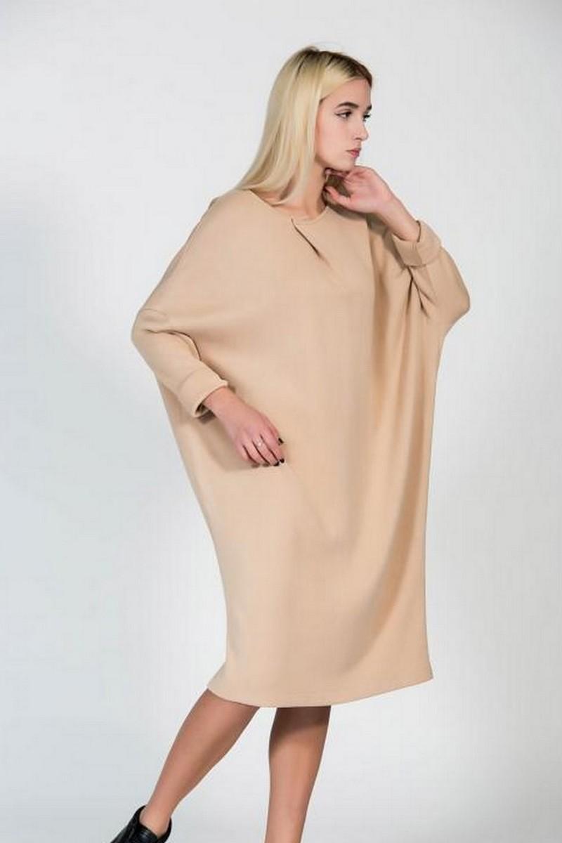 Beige Midi Loose Warm Dress, Stylish Comfortable women casual party dress